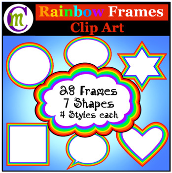 Rainbow Frames Clipart  Rainbow Borders Clip Art