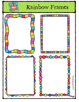 Rainbow Frames {P4 Clips Trioriginals Digital Clip Art}