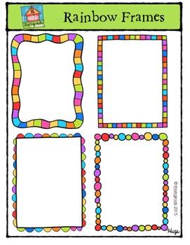Rainbow Frames {P4 Clips Trioriginals Digital Clip Art}