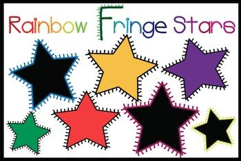 Rainbow Fringe Stars {Freebie!}