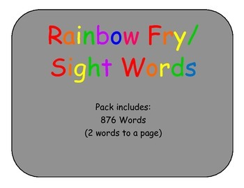 Rainbow Fry/Sight word pack