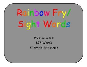 Rainbow Fry/Sight word pack