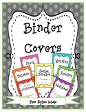 Rainbow Fun Binder covers and spine labels in dots