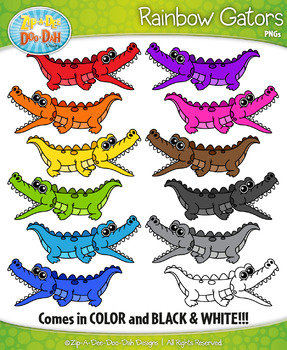 Rainbow Gator Characters Clipart — Includes 12 Graphics!