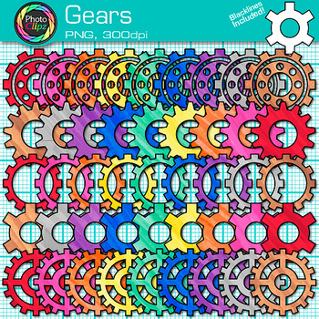 Rainbow Gears Clip Art {STEM & STEAM Science Graphics, Eng