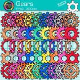 Rainbow Gears Clip Art {STEM & STEAM Science Graphics, Engineering Process}