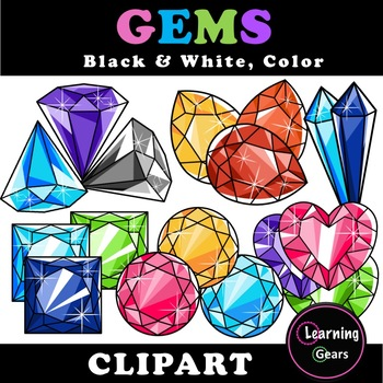 Rainbow Jewels & Gems Clipart - Black & White, Color, Grayscale
