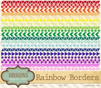 Rainbow Geometric Borders Clipart