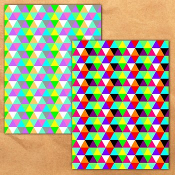 Rainbow Geometric Triangles Backgrounds - 11 Digital Papers {SET 1}