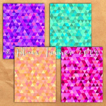 Rainbow Geometric Triangles Backgrounds - 11 Digital Papers {SET 2}