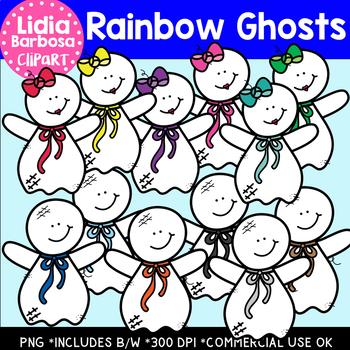 Rainbow Ghosts- Halloween Clipart