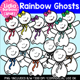 Rainbow Ghosts- Halloween Clipart