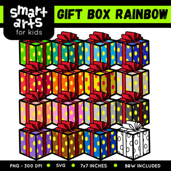 Rainbow Gift Box Clip Art