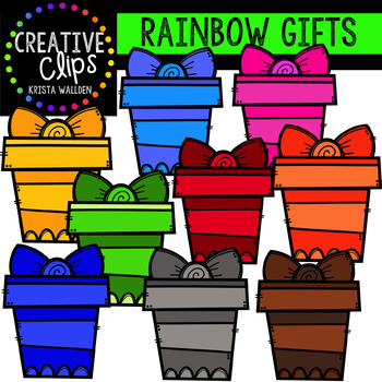 Rainbow Gifts Clipart {Creative Clips Clipart}