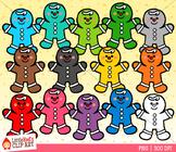 Rainbow Gingerbread Boys Christmas Clip Art