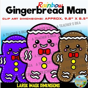Rainbow Gingerbread Man Clip Art for Personal and Commercial Use