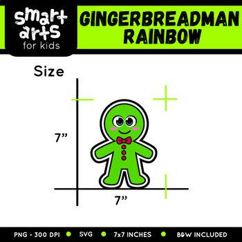 Rainbow Gingerbreadman Clip Art