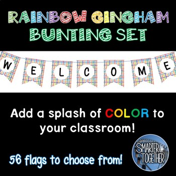 Rainbow Gingham Bunting Banner