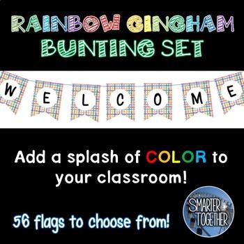 Rainbow Gingham Bunting Banner