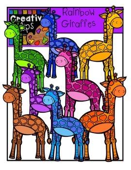 Rainbow Giraffes {Creative Clips Digital Clipart}