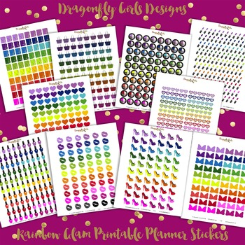 Rainbow Glam Printable Planner Stickers Kit-10 page 820 stickers