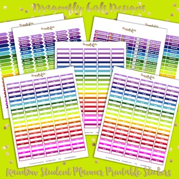 Rainbow Student Printable Planner Stickers Kit-7 page 330 stickers