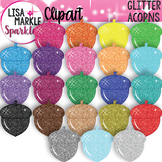 Rainbow Glitter Acorn Clipart for Fall and Back to School
