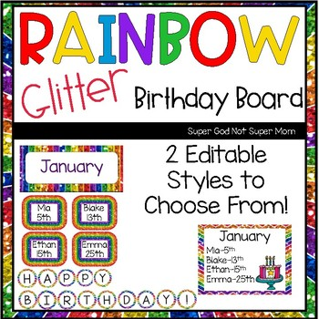 Rainbow Glitter Birthday Board