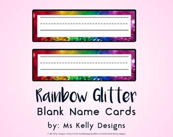 Rainbow Glitter Blank Name Cards