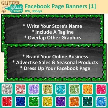 Facebook Page Banners Clip Art {Rainbow Glitter Chalkboard
