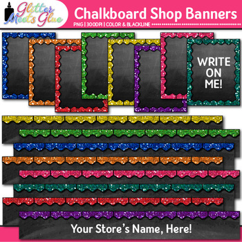 Chalkboard TPT Shop Banners Clip Art {Leaderboard & Column Graphics} 1