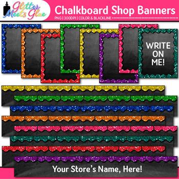 Chalkboard TPT Shop Banners Clip Art   Leaderboard & Column Graphics 1
