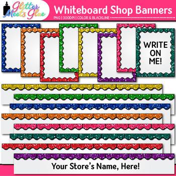 Whiteboard TPT Shop Banners Clip Art: TPT Store Graphics 2 {Glitter Meets Glue}