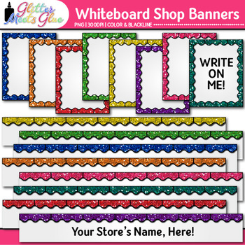 Whiteboard TPT Shop Banners Clip Art {Leaderboard & Column