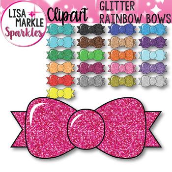 Rainbow Glitter Bows Clipart