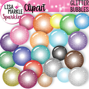 Rainbow Glitter Bubble Clipart