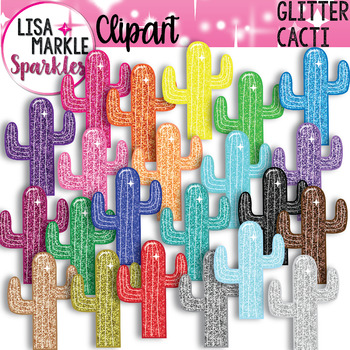 Rainbow Glitter Cactus Clipart