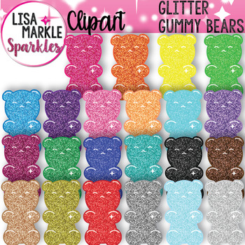 Rainbow Glitter Candy Gummy Bear Clipart