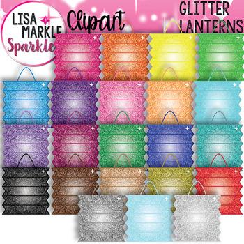 Rainbow Glitter Chinese Paper Lantern Clipart