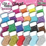 Christmas Stocking Clipart with Glitter