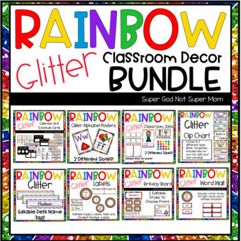 Rainbow Glitter Classroom Decor Bundle