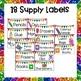 Rainbow Glitter Classroom Labels