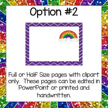 Rainbow Glitter Clip Chart- Editable Version Included