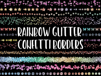 Rainbow Glitter Confetti Borders and Dividers Clip Art - 35 PNG Files