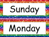 Rainbow Glitter Days of the Week Printable Header and Labels