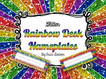 Rainbow Glitter Desk Nameplates