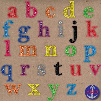 Rainbow Glitter Digital Alphabet & Numbers Clip Art Set- Letter Tiles