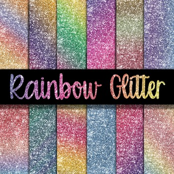 Rainbow Glitter Digital Paper Pack - 12 Different Papers - 12 x 12