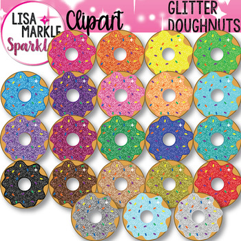 Rainbow Glitter Doughnut Clipart