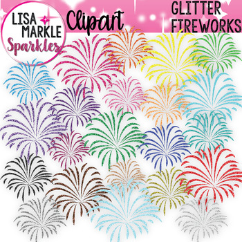Rainbow Glitter Fireworks Clipart for 4th of July